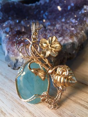 Aquamarine Wrapped in 14k Gold Filled Wire