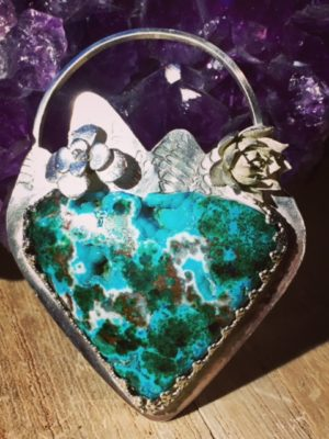 Malachite, Chryscolla, and Gem Druzy Heart Necklace