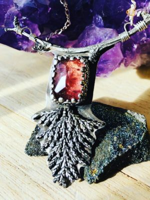 Pink Tourmaline Twig Necklace