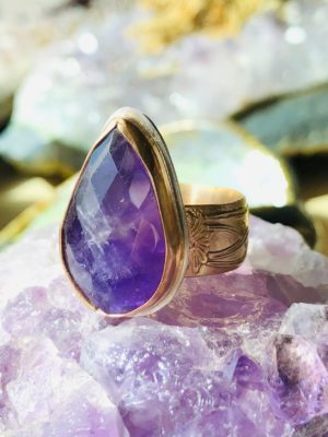 Faceted Amethyst Teardrop Ring in 14k Gold Filled Setting