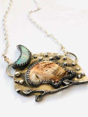 Sleepy Time Owl with Aurora Borealis Opal Moon Necklace