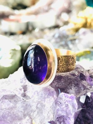Oval Amethyst In 14k Gold Filled and Argentium Silver