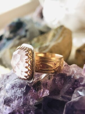 Faceted Kunzite Ring